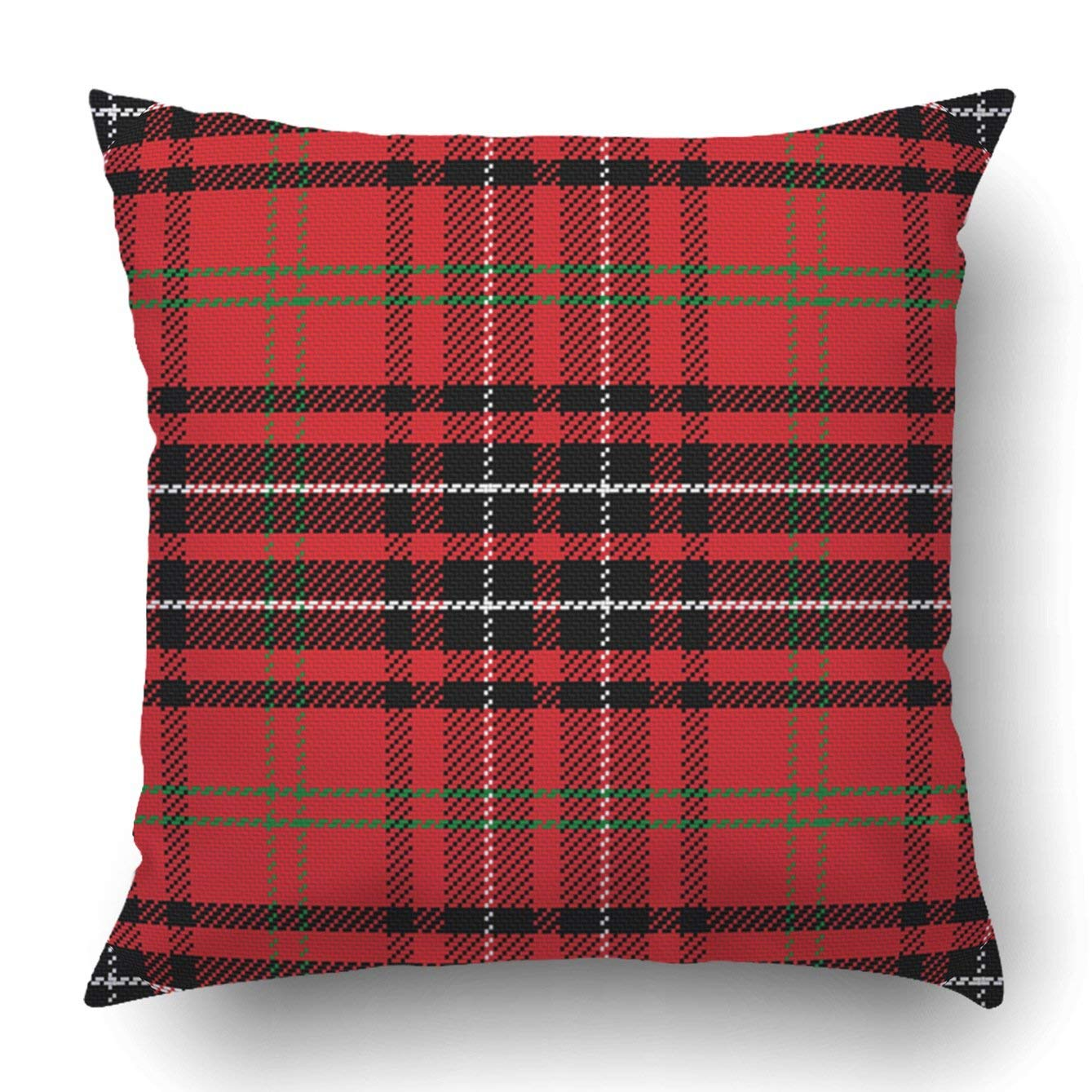 WOPOP vector pattern Scottish tartan red and green blue and yellow Pillowcase Throw Pillow Cover Case 18x18 inches