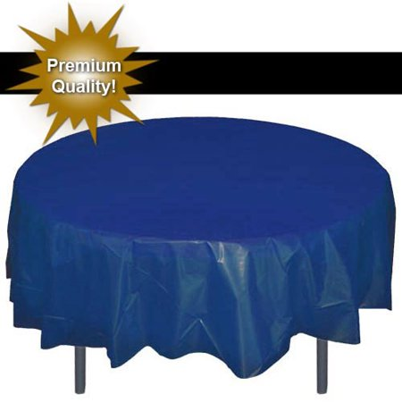 Exquisite 12 Pack Premium Navy Blue Plastic Tablecloth, 84 Inch Round - Blue Tablecloth