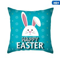 AkoaDa Happy Easter Rabbit Cushion Cover Decorative Pillows Case for Sofa Seat Soft Throw Pillow Case 45*45cm Home Decor (No Inner)