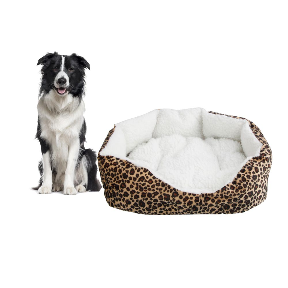 Zimtown Leopard Print Round Dog/Cat Bed Cotton Mat, Comfortable Stylish Pet Bedding, Premium Plush Fiber Fill, For Small and Toy Breed Dogs and Cats S
