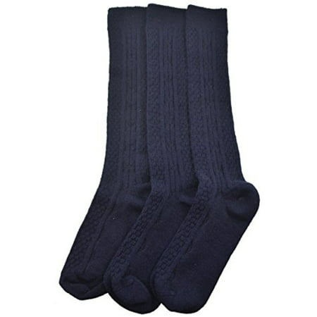 Sierra Socks Women's Girl's Acrylic Cable Knit Knee High 3 Pair Pack (Large (Shoe Size 4-10, Socks Size 9-11), (Popcorn Cable Socks)