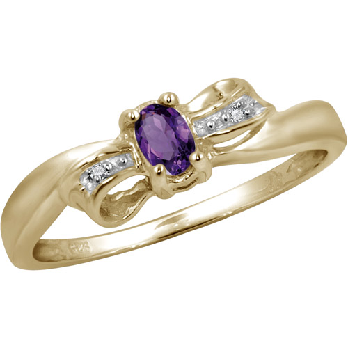 JewelersClub 0.23 Carat T.G.W. Amethyst Gemstone and White Diamond Accent Ring by JewelersClub