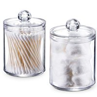 SheeChung Qtip Dispenser Apothecary Jars Bathroom - Qtip Holder Storage Canister Clear Plastic Acrylic Jar for Cotton Ball,Cotton Swab,Q-Tips,Cotton Rounds (2 Pack of 10 Oz.?Small)