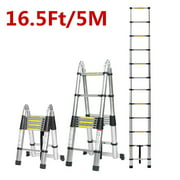 16.5Ft/12.5Ft/10.5ft Aluminum Telescoping Ladder, Non-Slip Ladder with Foot pad Lightweight Multi-Use Retractable Extension Step Loft Ladder, 330lbs Load Capacity