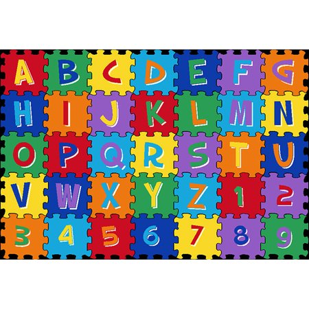 Mybecca Kids Rug Alphabet Puzzle 3' X 5' ABC Learning Carpet (39