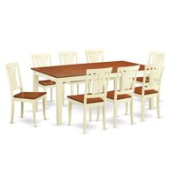 Dinette Set with 8 Dining Table & 8 Chairs, Buttermilk & Cherry - 9 Piece
