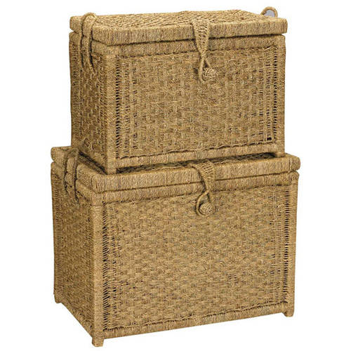 Household Essentials Seagrass Nested Chests, Set of 2