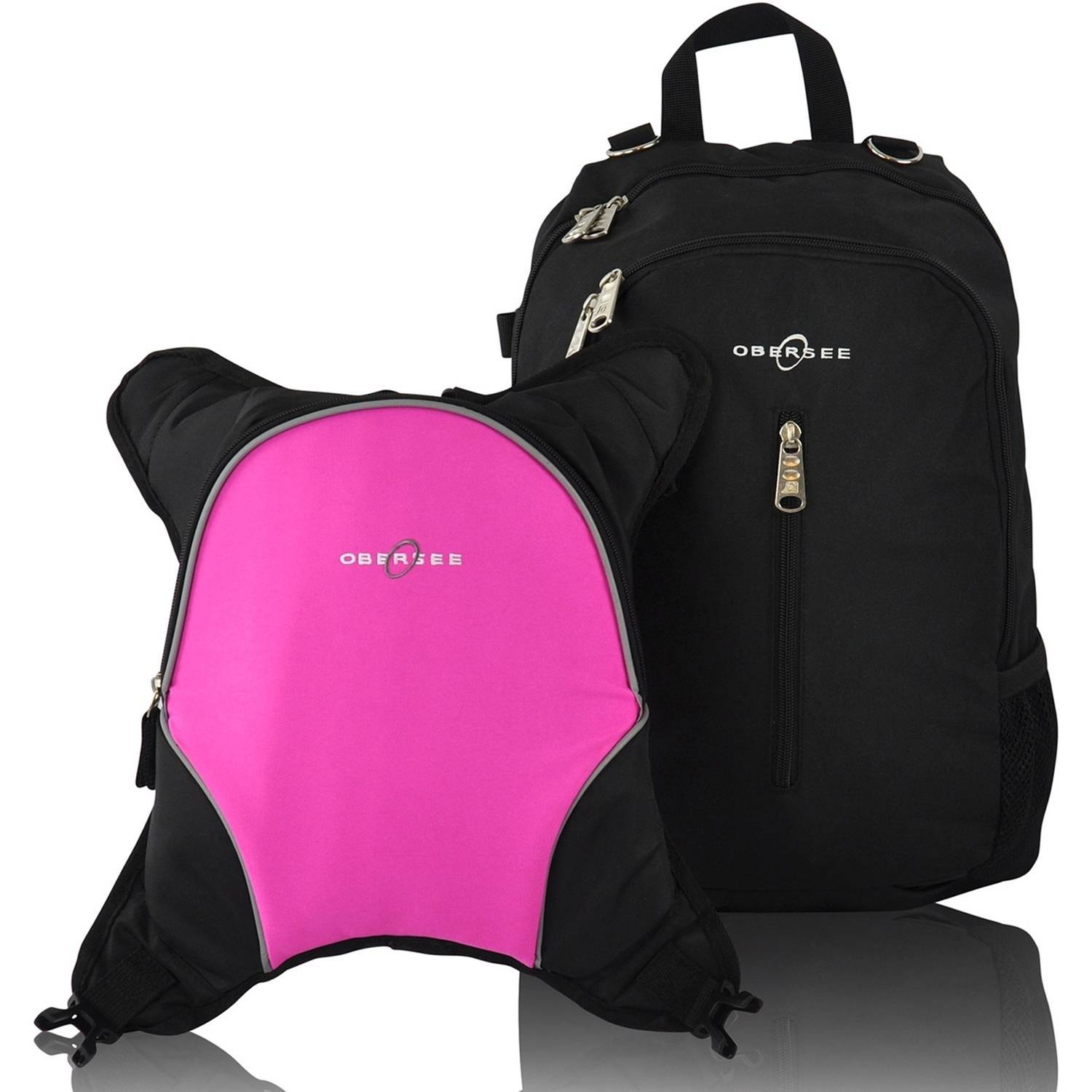 Obersee Rio Diaper Bag Backpack with Detachable Cooler, Black Pink by Obersee