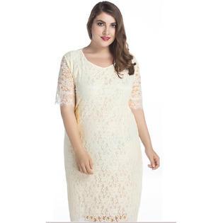 Women Hollow Lace Round Neck Long Wedding Dress White