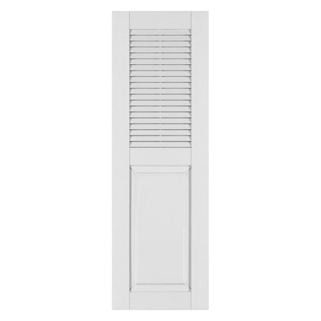 Perfect Shutters 14.5W in. Louvered Raised Panel Vinyl (Heritage Chip)