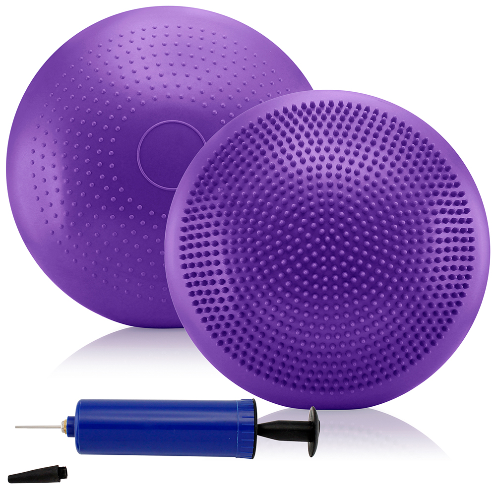 Inflatable Balance Board Disc Yoga Fitness Trainer Gym Stability Air Cushion Wobble Pad Physio w/ Pump - Purple
