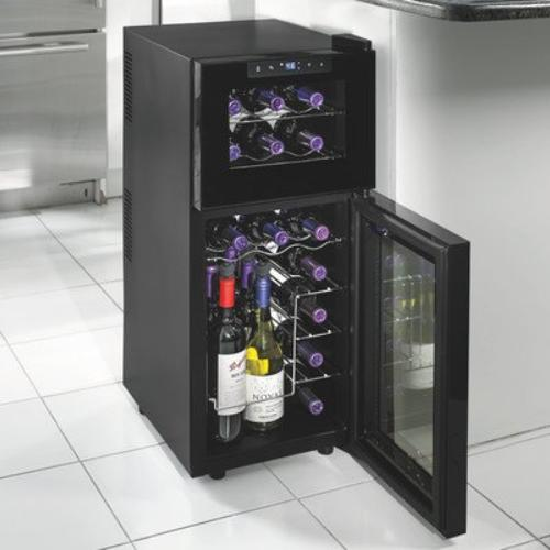 Wine Enthusiast 272031905 Silent 21-Bottle Dual-Zone Touchscreen Wine Cooler