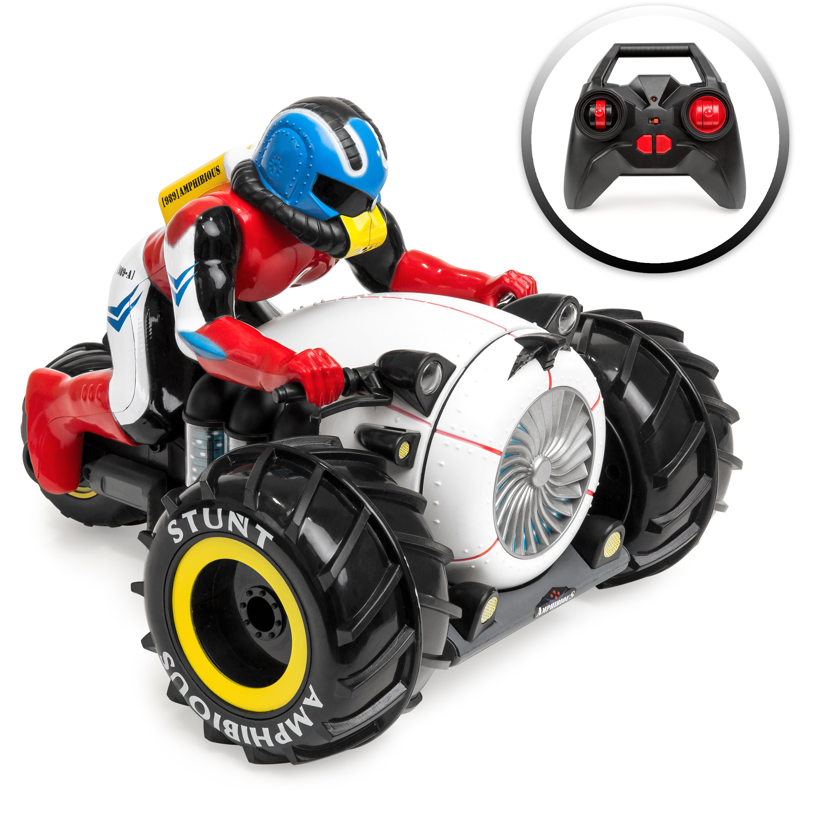 Best Choice Products Kids Remote Control Stunt Motorcycle Toy for Land, Water, Snow Play w/ All-Terrain Wheels - Mutli