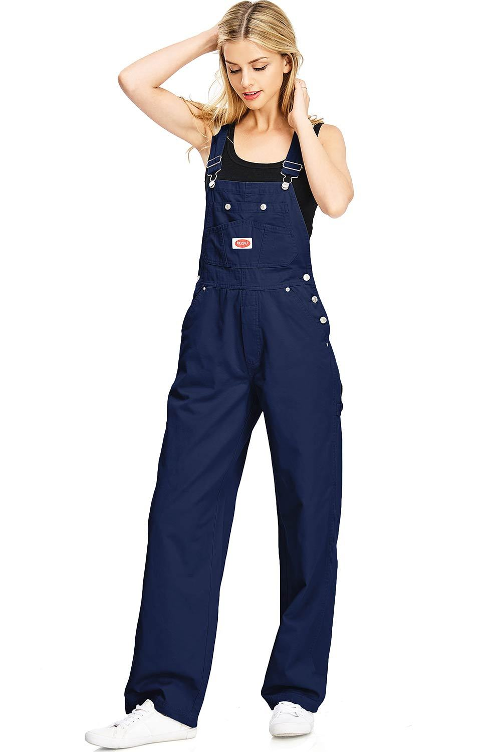 Khaki and Denim Blue Jean Revolt Womens Classic Bib Overalls Olive