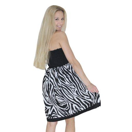 LA LEELA Short Tube Dress Women Skirt Beach Halter Neck Knee Length Black White