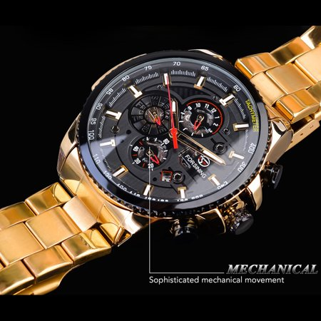 FORSINING Men Three Dials Stainless Steel Band Calendar Analog Watch Waterproof Automatic Mechanical Wrist Watch - image 1 of 7