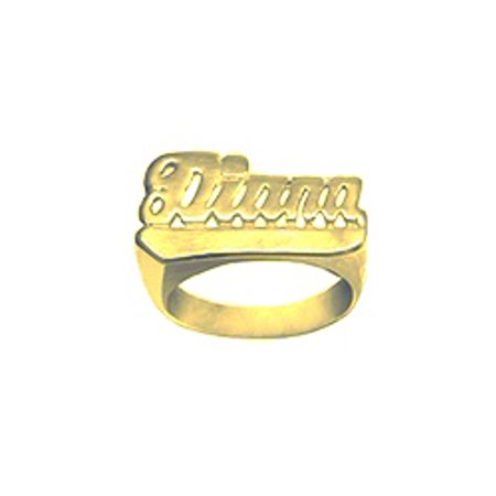 24k Designer Ring (24K Gold Plated Sterling Silver Personalized Name Ring with Name of Your Choice Size 5 thru 10 Made in)