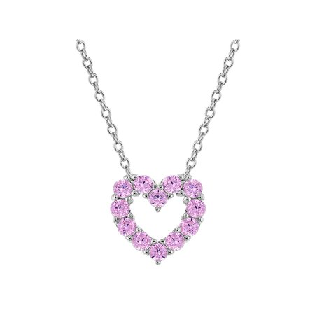 925 Sterling Silver Cubic Zirconia Open Heart Necklace Pendant for Girls 17