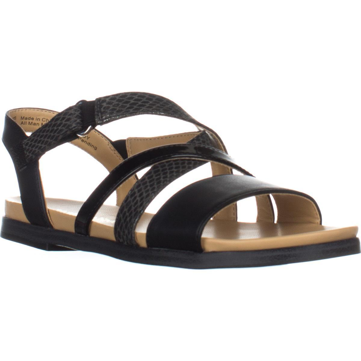 Womens Naturalizer Kandy Flat Strappy Sandals, Black by Naturalizer