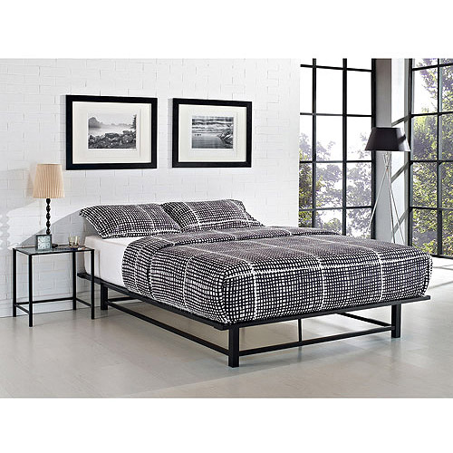 Parsons Queen Metal Ledge Platform Bed and Nightstand Set, Black