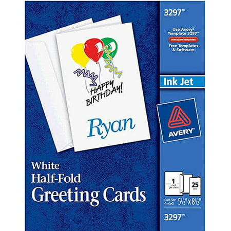 Avery HalfFold Greeting Cards Set of 25 Walmart – Avery Birthday Card Templates