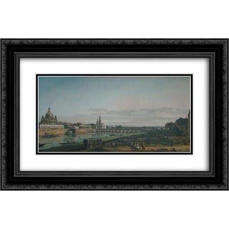 Bernardo Bellotto 2x Matted 24x16 Black Ornate Framed Art Print 'Dresden seen from right bank of the Elbe, below the Augustus Bridge' (Mtg Bridge From Below)