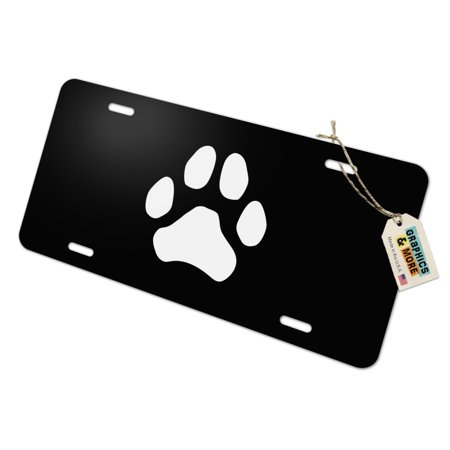 Paw Print Dog Cat White on Black Novelty Metal Vanity Tag License - License Pet Tag