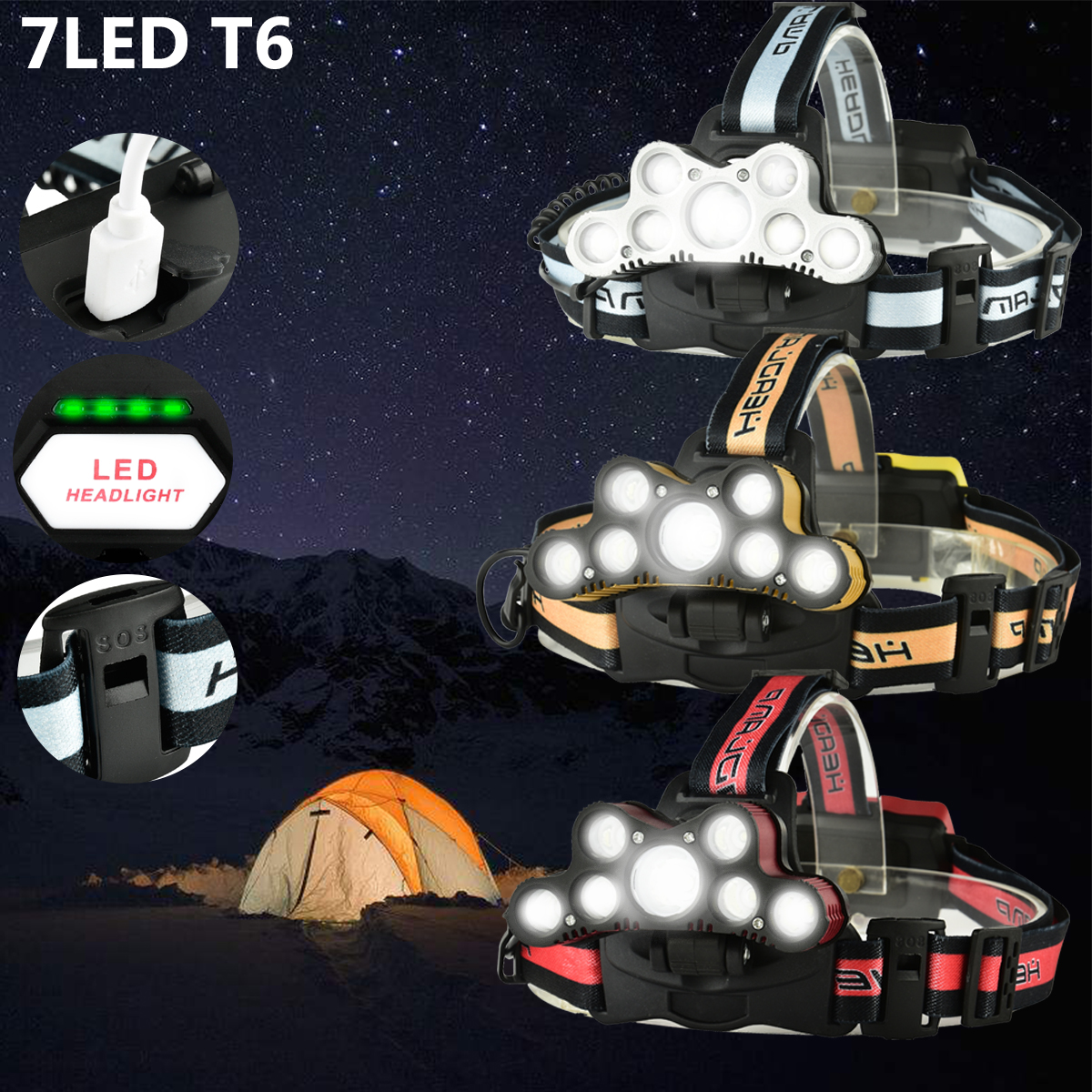 Elfeland 5000Lumens 7xT6 LED USB Headlight Headlamp Torch with SOS Help Whistle 6 Modes For Camping Hiking