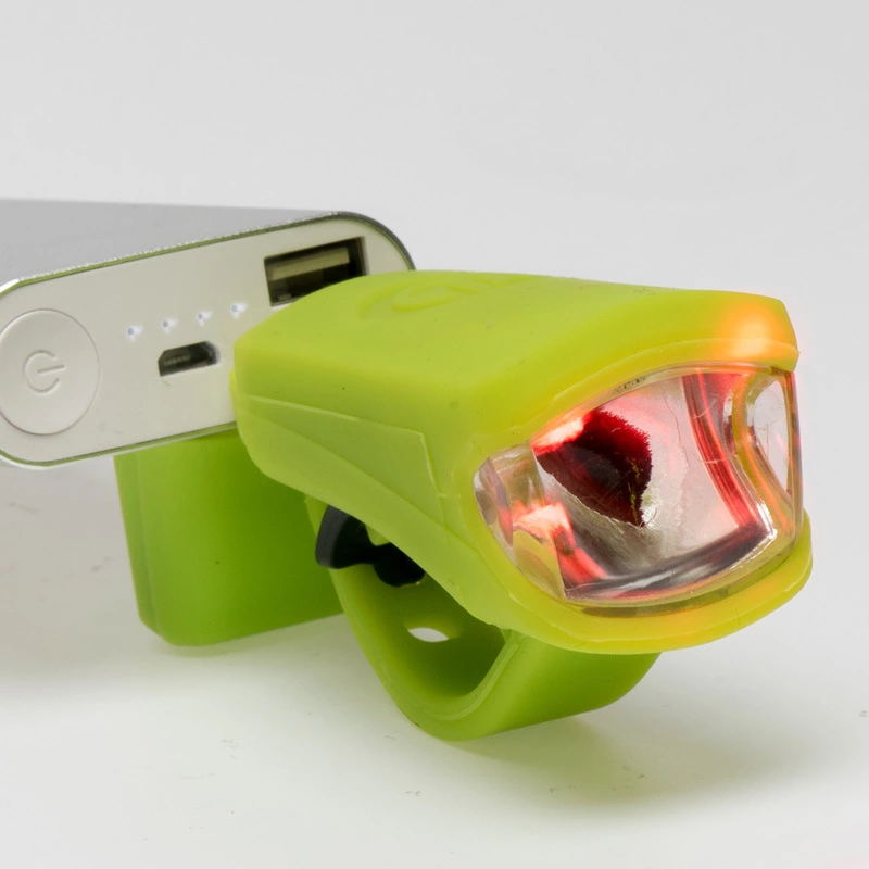 Waterproof 2 Mode 3W LED USB Rechargeable Headlight  Front Torch Flashlight Bicycle Bike Rear Tail Lamp Color: Blue/Green