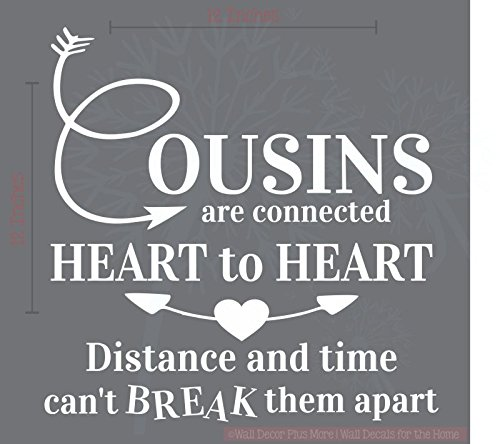 Vinyl Sticker for Box Frame//Picture frame Cousins are connected heart by heart