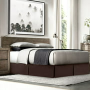 """Nestl Pleated Bed Skirt for Cal King Size Bed, Double Brushed Microfiber 14"""" inch Tailored Drop Dust Ruffle, Covers Bed Legs and Frame - Chocolate Brown"""