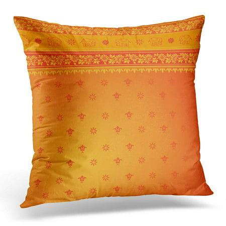 Sari Pillows Cushion Covers (ECCOT Red Orange Sari White Border Pillowcase Pillow Cover Cushion Case 18x18 inch)