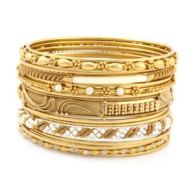 C Jewelry Gold & Ivory Crystal Plus Size Indian Bangles, Set Of 16 Pieces