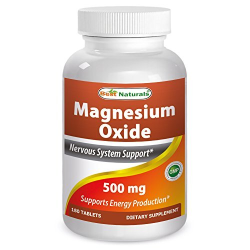 Magnesium Oxide 500 mg 180 tablets by Best Naturals - Supports Health Nervous System - Manufactured in a USA Based GMP C