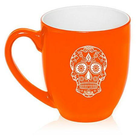 16 oz Large Bistro Mug Ceramic Coffee Tea Glass Cup Sugar Candy Skull (Orange) (Sugar Skull Glasses)
