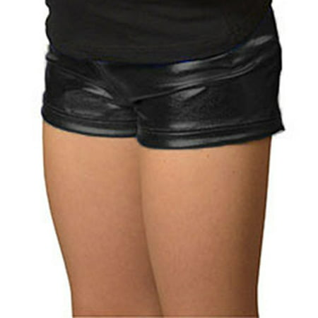 Girl's Foil Metallic Booty Shorts - X Small (4) / Metallic Black - Metallic Booty Shorts
