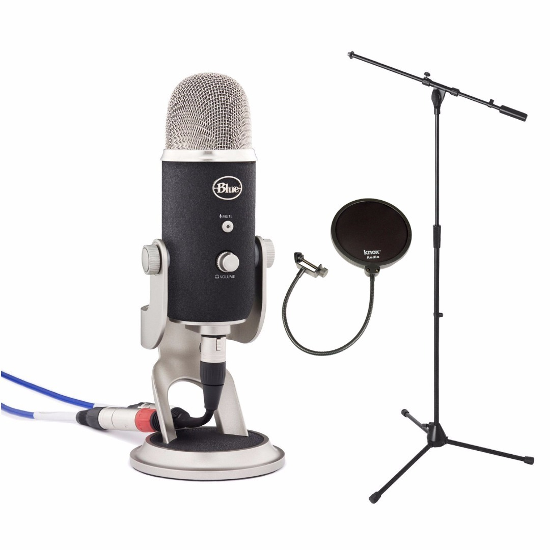 Blue Microphones YETIPRO Yeti Pro USB Microphone + Euro Boom Microphone Stand Black + Pop Filter