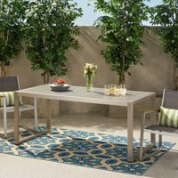 Quentin Outdoor Aluminum Dining Table, Silver