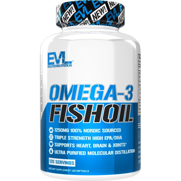 Evlution Nutrition Triple Strength Omega-3 Fish Oil Softgels, 1250 Mg, 120 Ct