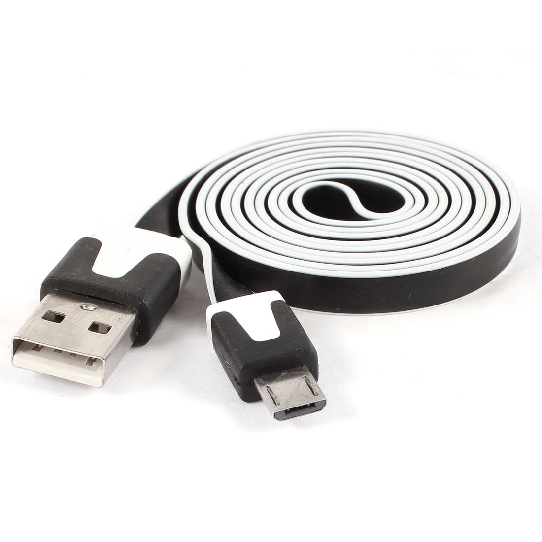 Unique Bargains USB A to Micro 5Pin M/M Data Charger White Edge Flat Cable Black 1M Long