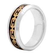 Men's Tungsten 8MM Chain Link Inlay Wedding Band - Mens Ring