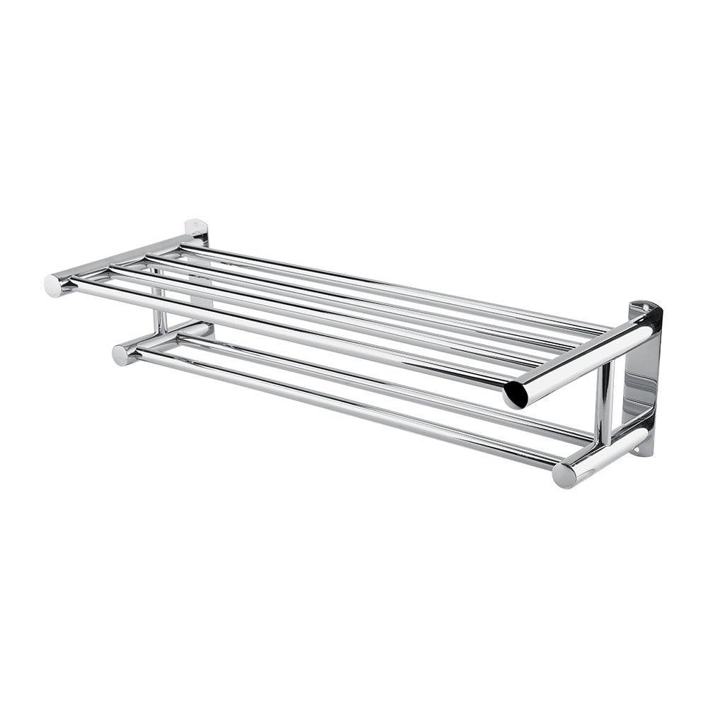Estink Stainless Steel Bath Towel Rack Bathroom Shelf with Double Towel Bar by