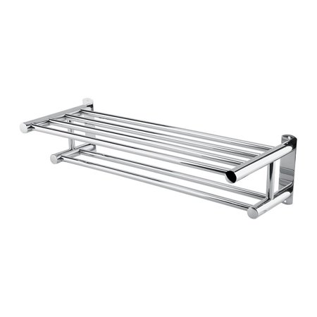 Estink Stainless Steel Bath Towel Rack Bathroom Shelf with Double Towel Bar