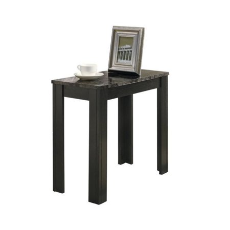 Kingfisher Lane Accent End Table in Black and Grey Marble (Dia Black Marble)