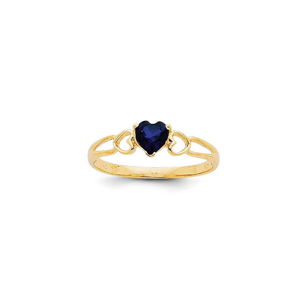 14k Yellow Gold 5mm Round Heart Sapphire Birthstone Ring
