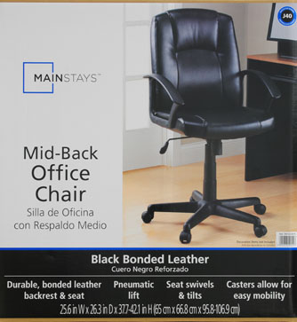 mainstays mid-back leather office chair, black - walmart