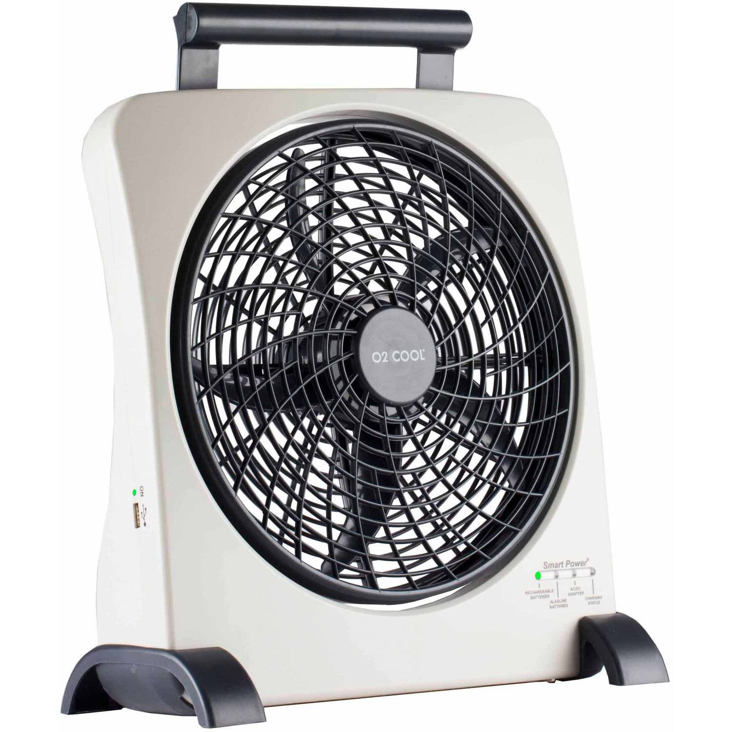 "O2Cool 10"" Rechargeable Fan with USB Charging Port"