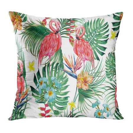 ECCOT Beautiful Floral Exotic Pattern Tropical Flowers Palm Leaves Jungle Plants Hibiscus Bird of Paradise Pink Pillow Case Pillow Cover 16x16 inch Bird Of Paradise Cover