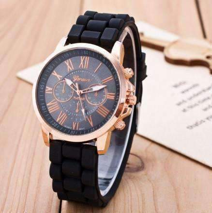 Casual Elegance Rose Gold Geneva Watch with Silicone Band ~ 3 Colors to Choose Black