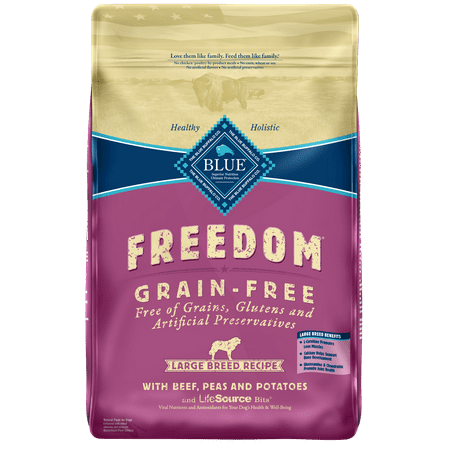 Blue Buffalo Freedom Grain Free Natural Adult Large Breed Dry Dog Food, Beef, 24-lb